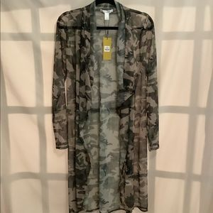 NWT Revamped camo print mesh long belted cardigan